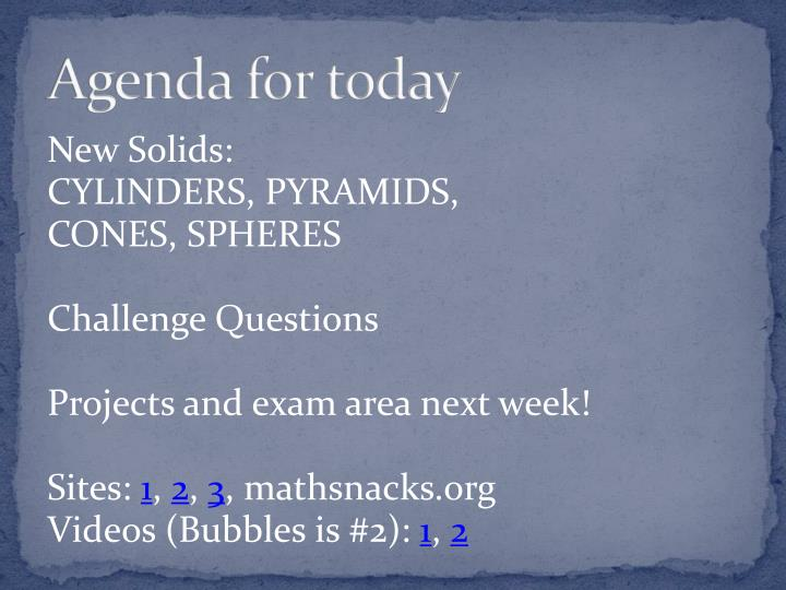 agenda for today n.