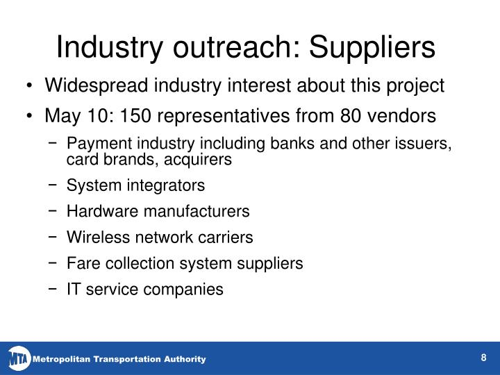 Industry outreach: Suppliers