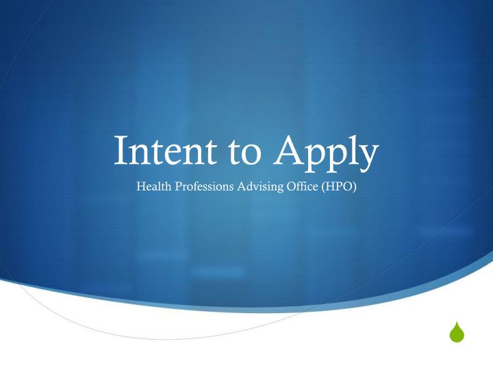 intent to apply n.