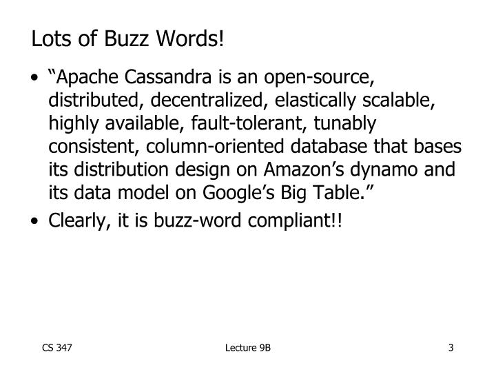 Lots of buzz words