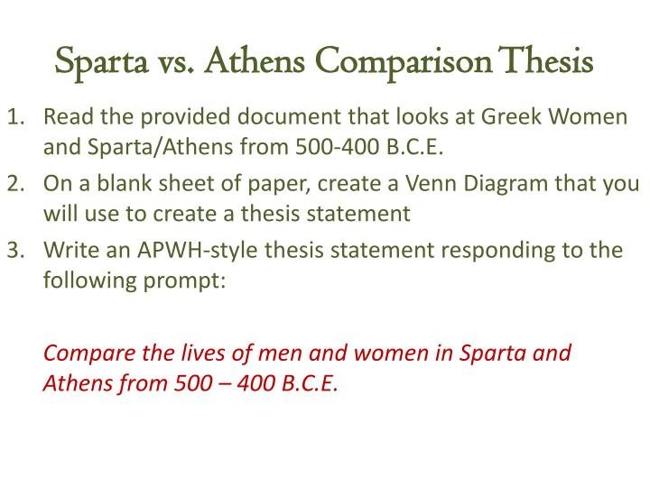 comparing lives of athenian and spartan women history essay Essays on lives of athenian and spartan women the lives of athenian and spartan women is one of the most popular assignments among students' documents if you are stuck with writing or missing ideas, scroll down and find inspiration in the best samples.