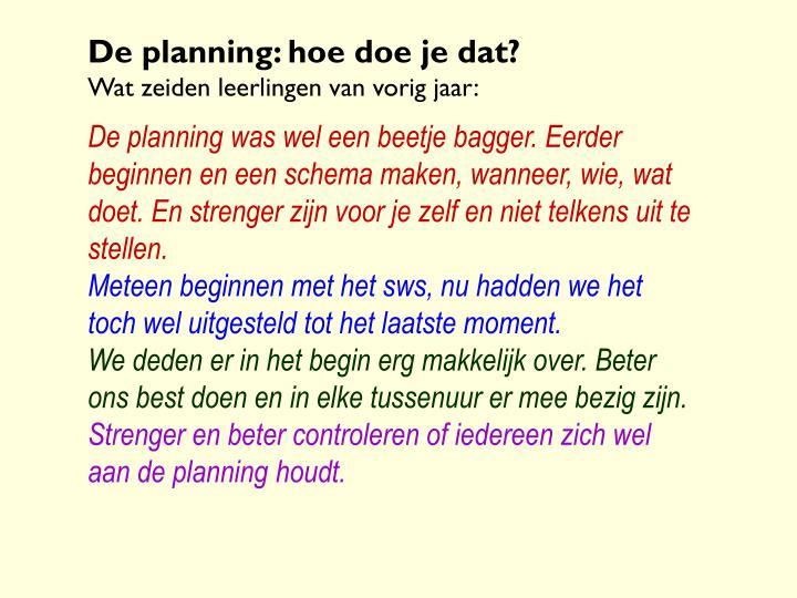 De planning: hoe doe je dat?