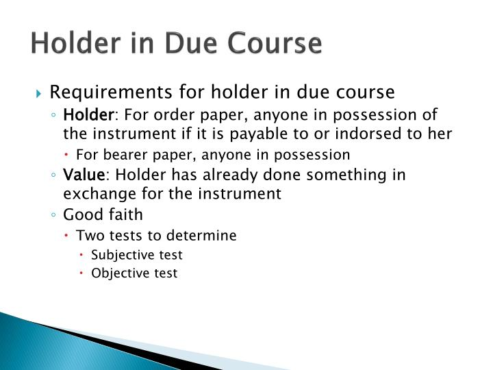 Holder in Due Course