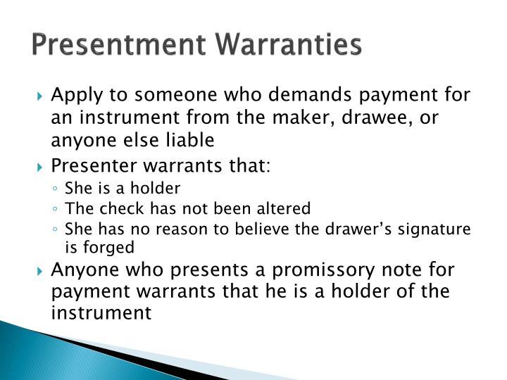Presentment Warranties