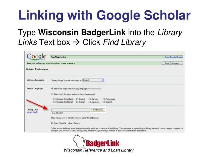 Linking with Google Scholar