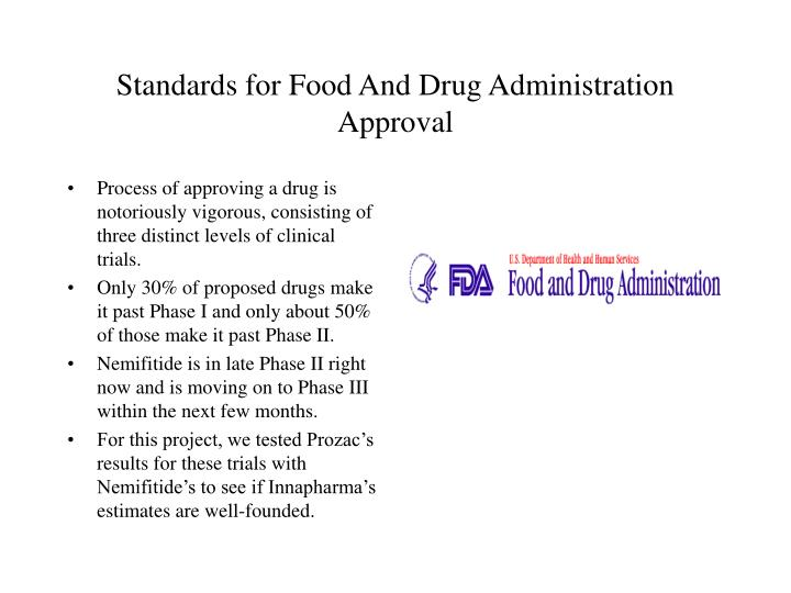 Standards for Food And Drug Administration Approval