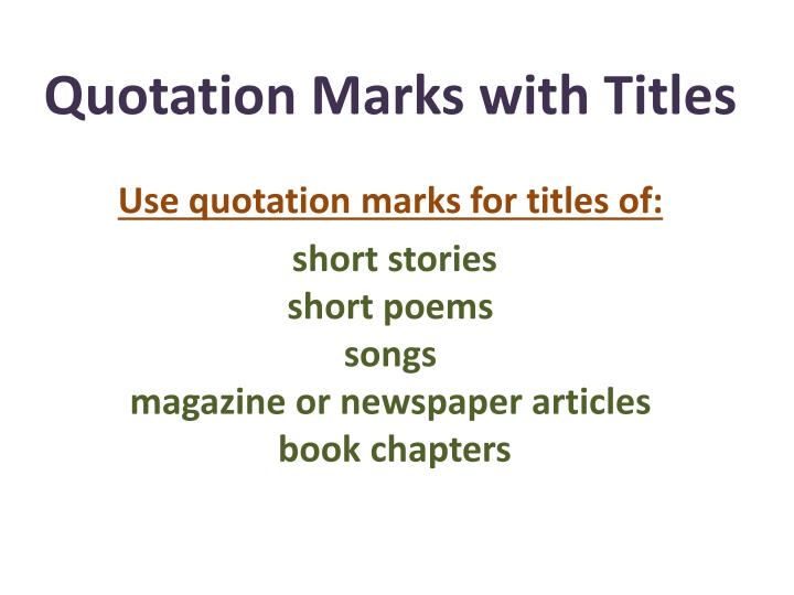essay quotation marks The rules for quotation marks around titles vary depending on which style guide you follow in general, you should italicize the titles of long.