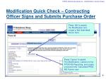 modification quick check contracting officer signs and submits purchase order