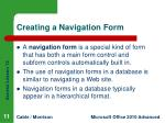creating a navigation form