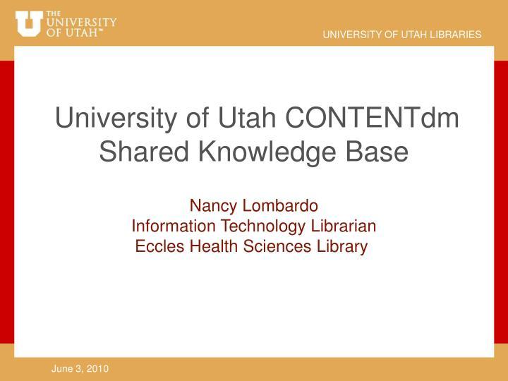 University of Utah CONTENTdm