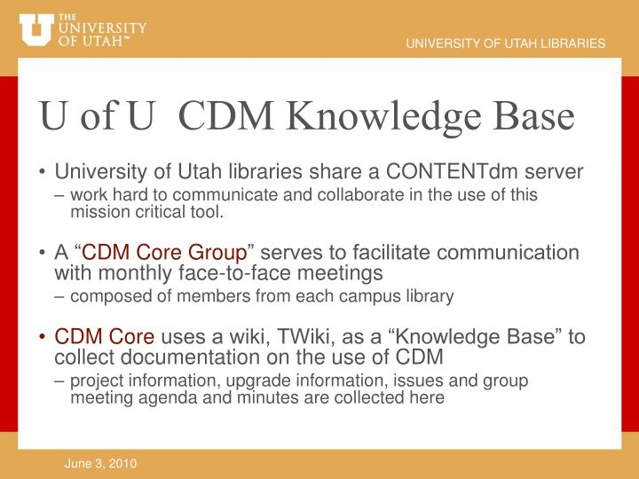 University of Utah libraries share a CONTENTdm server