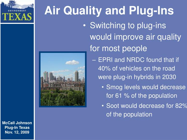 Air Quality and Plug-Ins