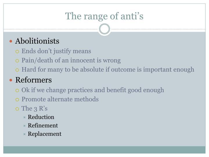 The range of anti's