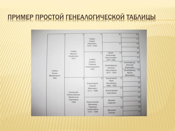 Пример простой генеалогической таблицы