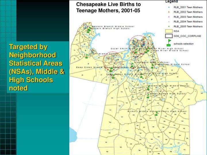 Chesapeake Live Births to Teenage Mothers, 2001-05