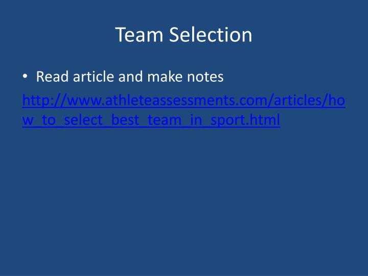 Team Selection