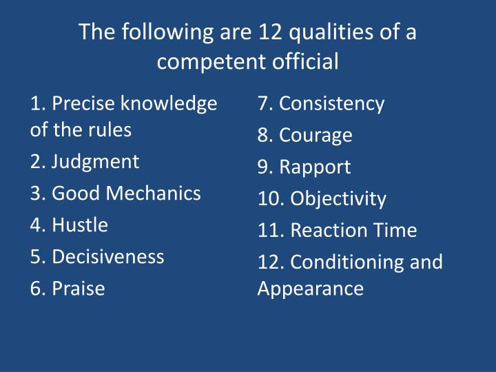 The following are 12 qualities of a competent official