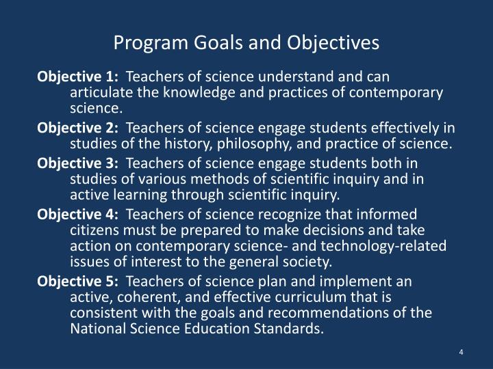 Program Goals and Objectives