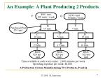 an example a plant producing 2 products
