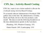 csn inc activity based costing