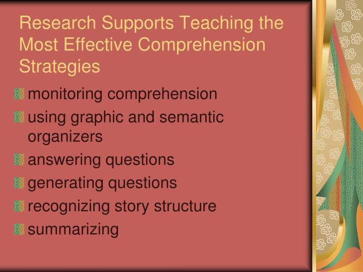 Research Supports Teaching the Most Effective Comprehension Strategies