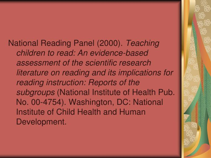 National Reading Panel (2000).