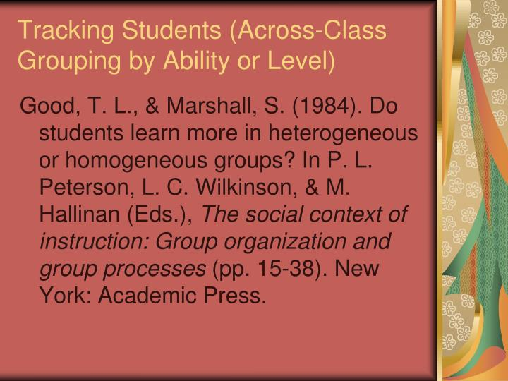 Tracking Students (Across-Class Grouping by Ability or Level)