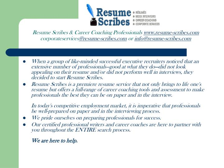 Resume Scribes & Career Coaching Professionals