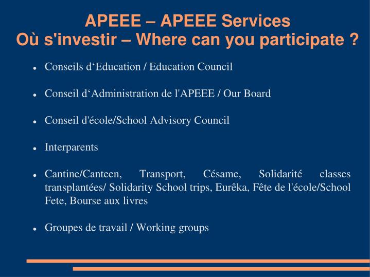 APEEE – APEEE Services