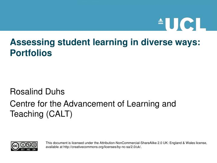 assessing student learning in diverse ways portfolios n.
