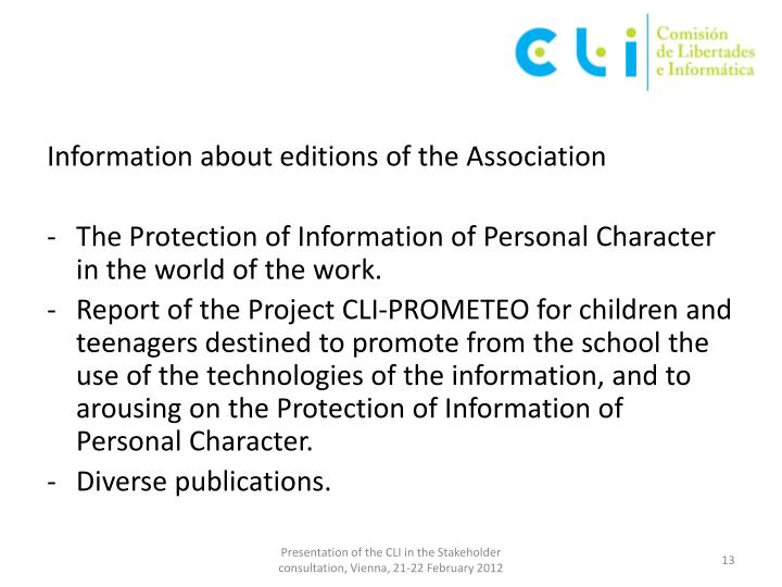 Information about editions of the Association