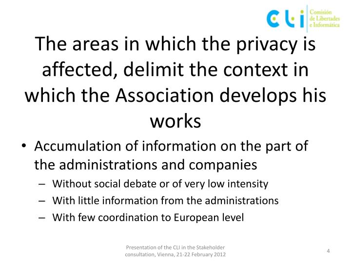 The areas in which the privacy is affected, delimit the context in which the Association develops his works