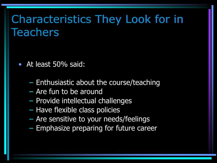 Characteristics They Look for in Teachers