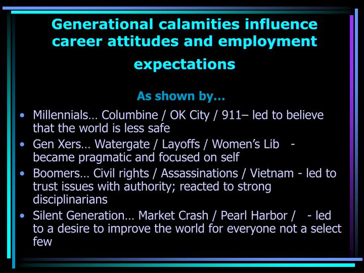 Generational calamities influence career attitudes and employment                        expectations