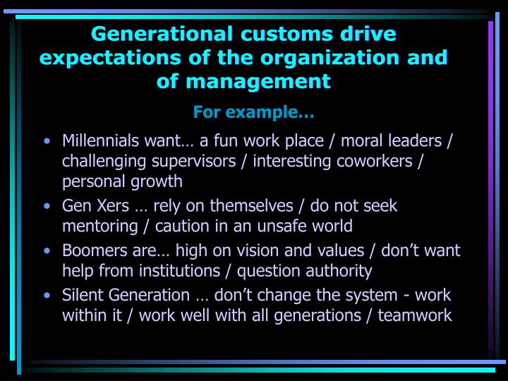 Generational customs drive expectations of the organization and of management