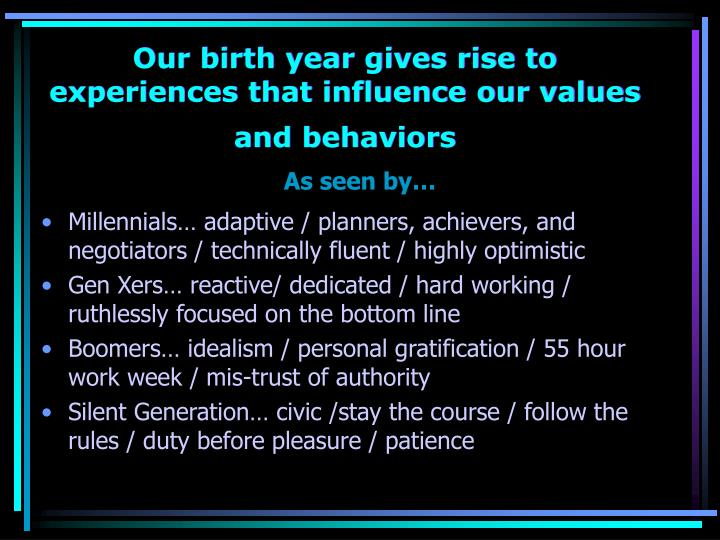 Our birth year gives rise to experiences that influence our values and behaviors