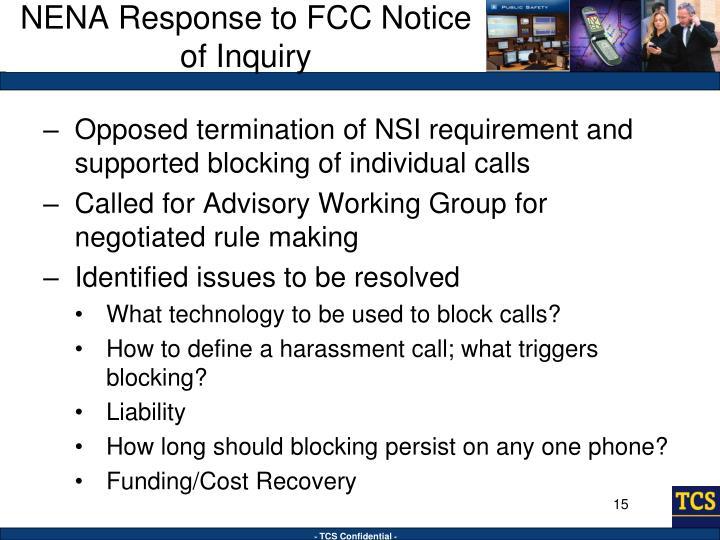 NENA Response to FCC Notice of Inquiry