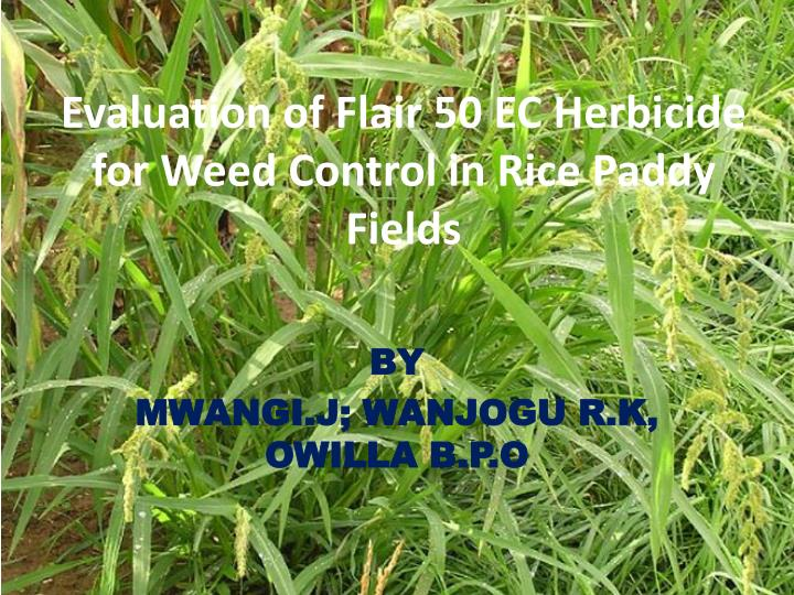 evaluation of flair 50 ec herbicide for weed control in rice paddy fields n.