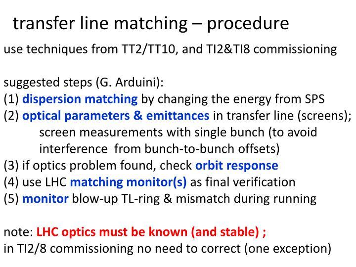 transfer line matching – procedure