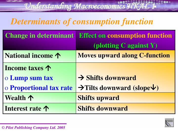 Determinants of consumption function