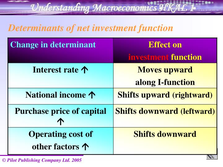 Determinants of net investment function