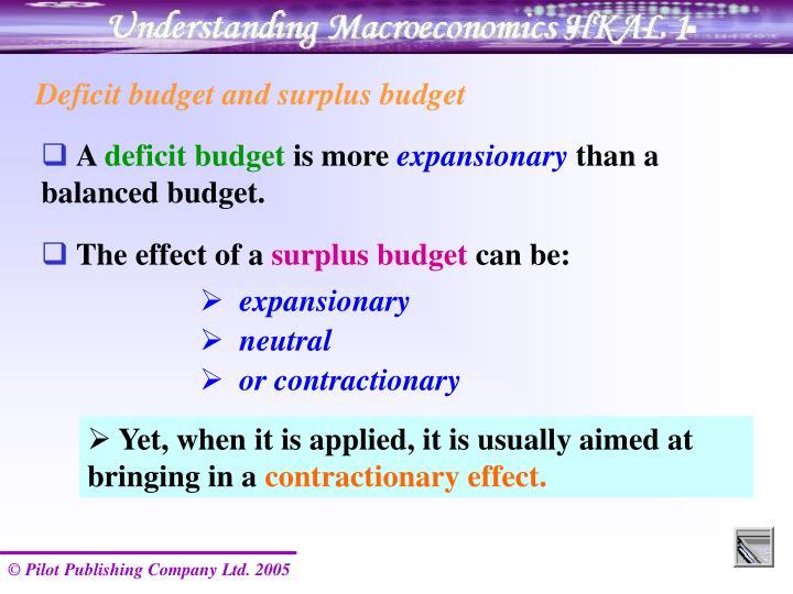 Deficit budget and surplus budget
