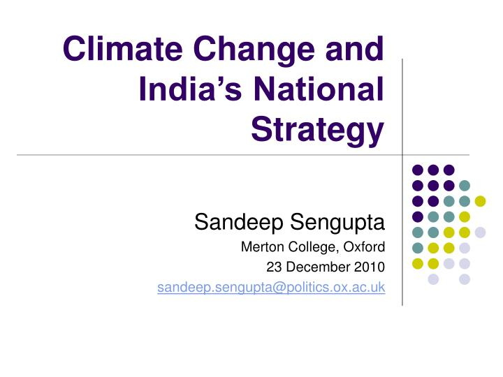 climate change and india s national strategy n.