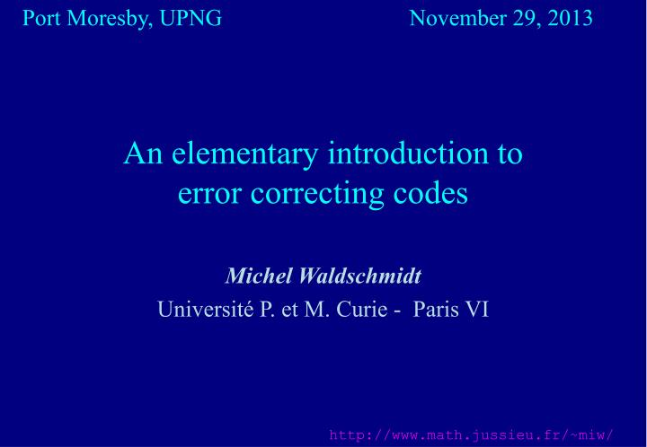 an elementary introduction to error correcting codes n.