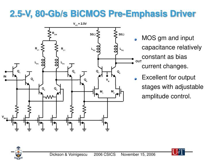 2.5-V, 80-Gb/s BiCMOS Pre-Emphasis Driver