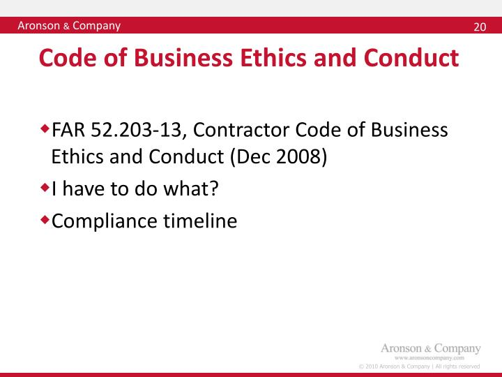 Code of Business Ethics and Conduct