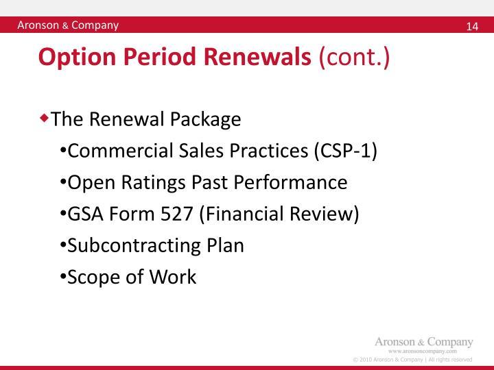 Option Period Renewals