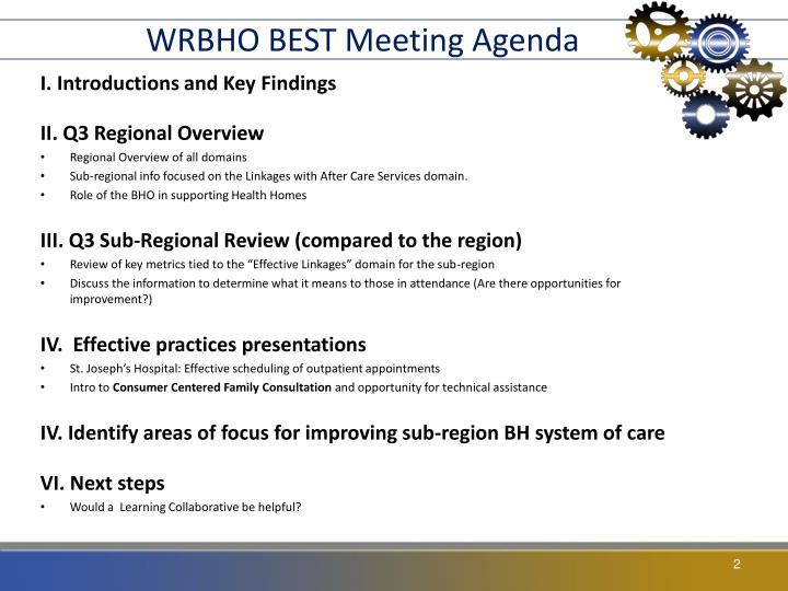WRBHO BEST Meeting Agenda