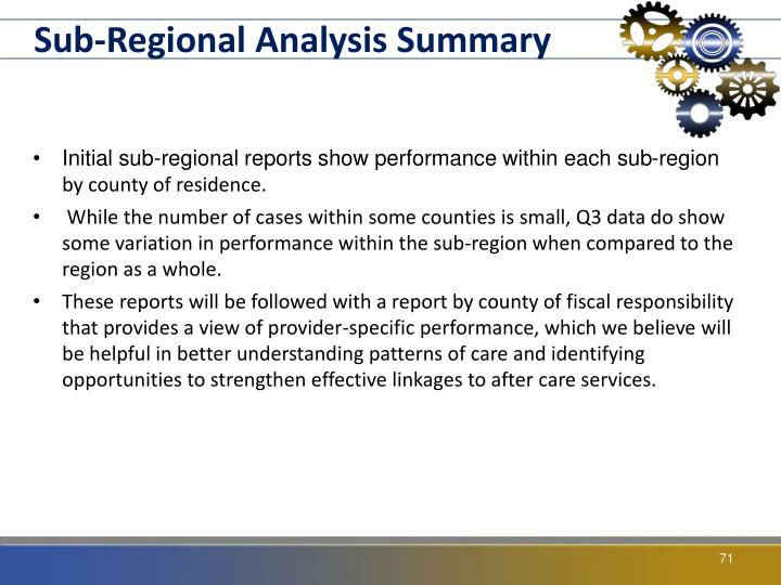Sub-Regional Analysis Summary