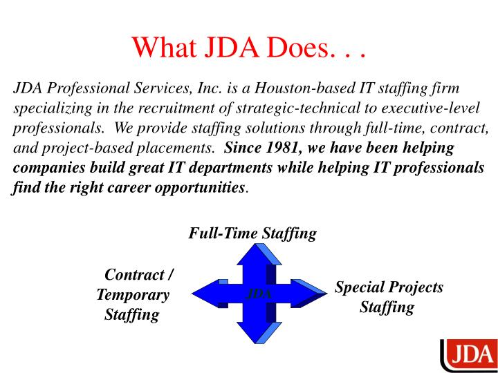 What JDA Does. . .